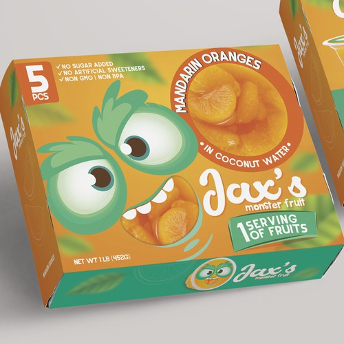 Creative packaging with the title 'Packaging Design Kids Fruit Cup'