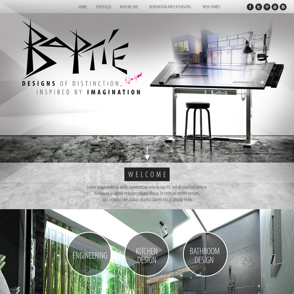 Pink and gray design with the title 'Website For Architectural Design Company'