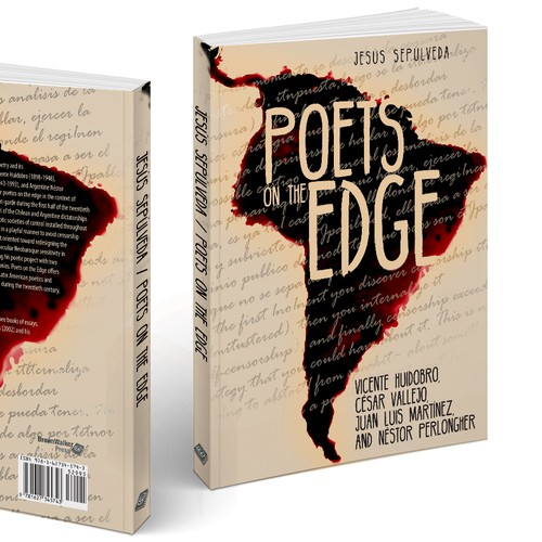 Red book cover with the title 'Book Cover about Poets on the Edge'