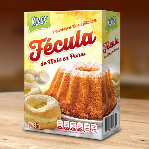 Cooking packaging with the title 'Fécula de Maíz/Powdered Corn Starch - Box'