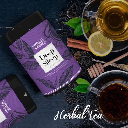 Herbal label with the title 'Deep Sleep Tea'