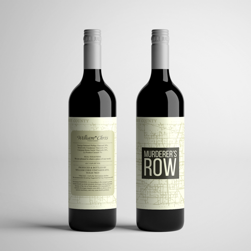 Bold label with the title 'Wine Label for Murderer's Row'
