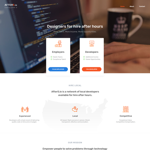 Computer design with the title 'Hiring developers landing page'