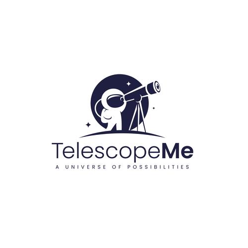 Futuristic design with the title 'TelescopeMe Logo Design'