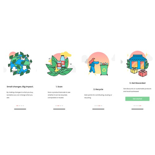 App artwork with the title 'App onboarding illustrations for recycling app'