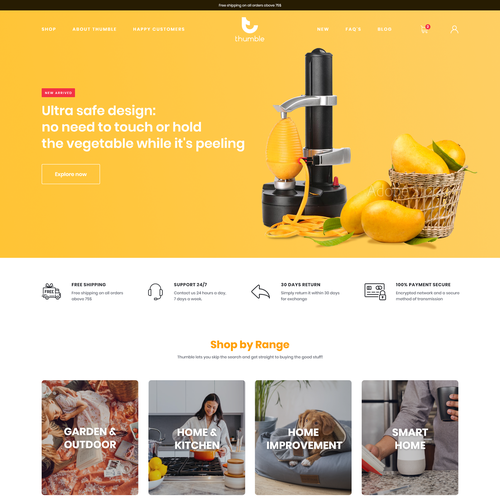 Yellow and orange design with the title 'Home & Kitchen essentials ecommerce website'