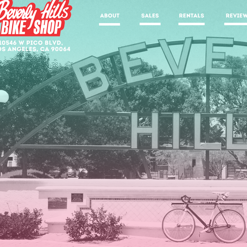 Bike design with the title 'Beverly Hills Bike Shop'