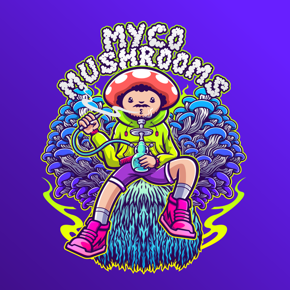 Throne design with the title 'Mushrooms Throne Psychedelic T-shirt Illustration'