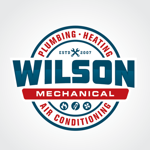 Heating design with the title 'Vintage style Logo for Wilson Mechanical Plumbing Heating and Air Conditioning'