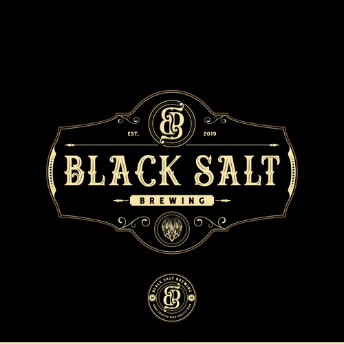 Baroque logo with the title 'Brewery Logo Design for Black Salt Brewing'