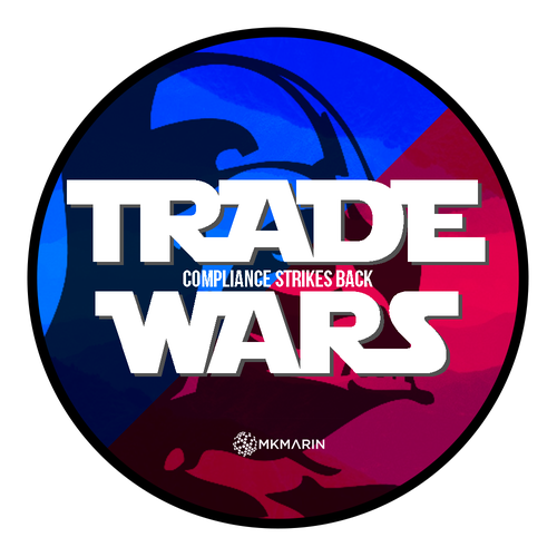 Two-tone design with the title 'Event Logo for Trade Wars'