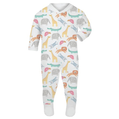 Jungle design with the title 'Pattern design for baby sleep suit'