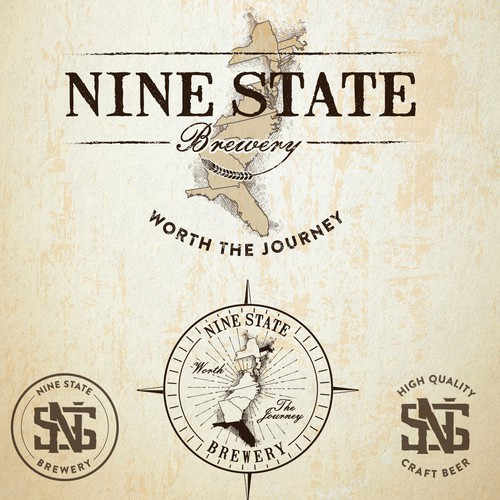 "Old design with the title 'Logo design for ""Nine State Brewery"".'"