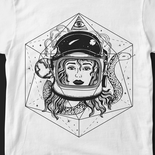 Sacred geometry design with the title 'Design t-shirts with spiritual meaning.'