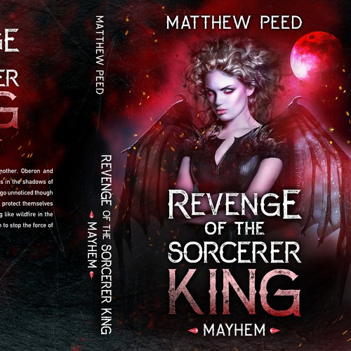 Horror design with the title 'Revenge of the Sorcerer King - Mayhem'