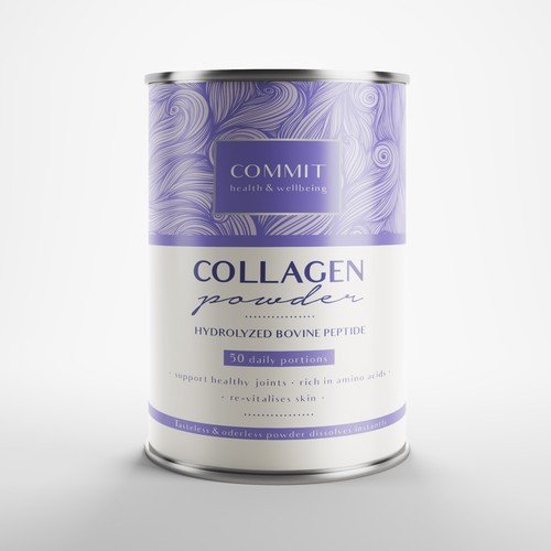 Purple packaging with the title 'COLLAGEN POWDER'