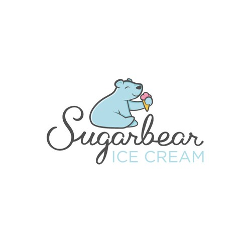 Cute animal logo with the title 'Polar bear ice cream'