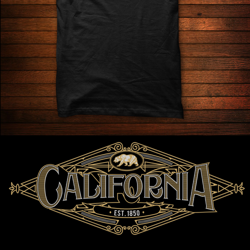 Steampunk t-shirt with the title 'california'