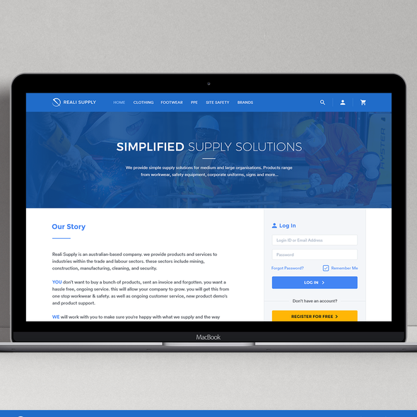 Magento design with the title 'Security Equipment Supply Website'