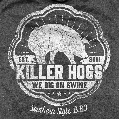 Old school t-shirt with the title 'Southern Style BBQ Killer Hogs T-shirt'