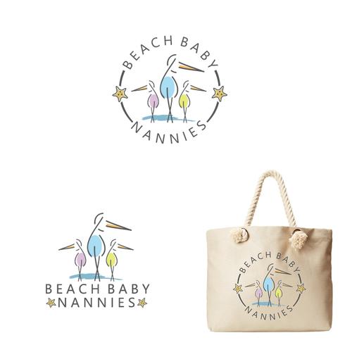 Beach club logo with the title 'Beach Baby Nanny Logo'