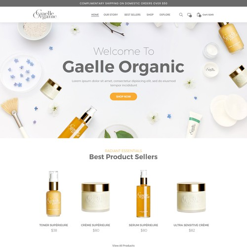 Skin care website with the title 'Organic skincare brand looking for a new high converting design'