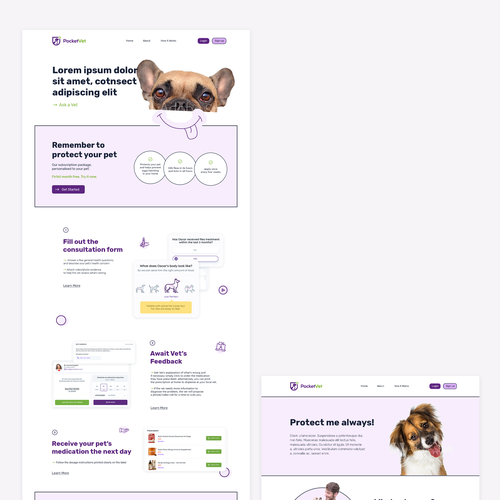Animal website with the title 'Landing page for Vet app'