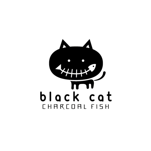 Quirky logo with the title 'Black Cat Charcoal Fish'