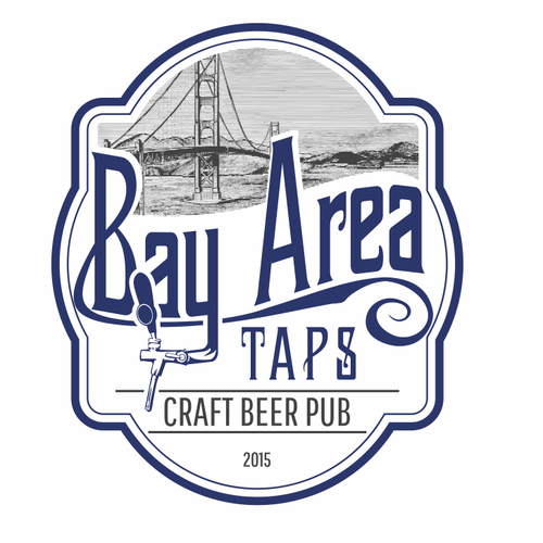 Tap design with the title 'Bay Area Taps - Craft Beer Taproom logo'