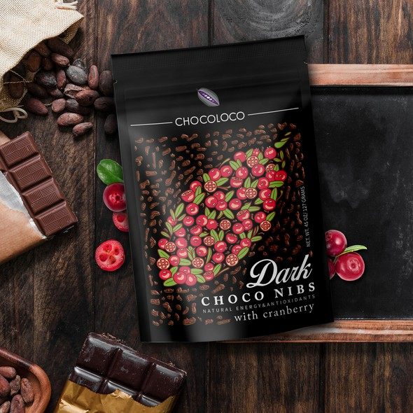 Dark packaging with the title 'Dark Chocolate Nibs Label Design'