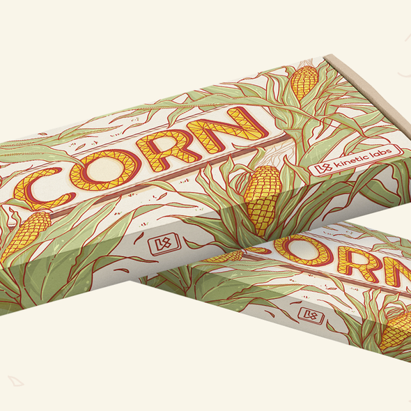 Packaging with the title 'Illustrated packaging for a Corn keycap set'