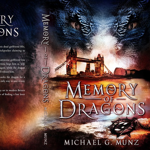 Dragon book cover with the title ''Memory Of Dragons' by Michael G. Munz'