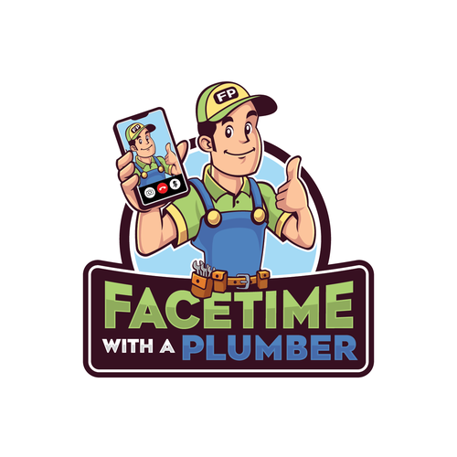 Plumbing logo with the title 'Facetime with a Plumber Logo Design'