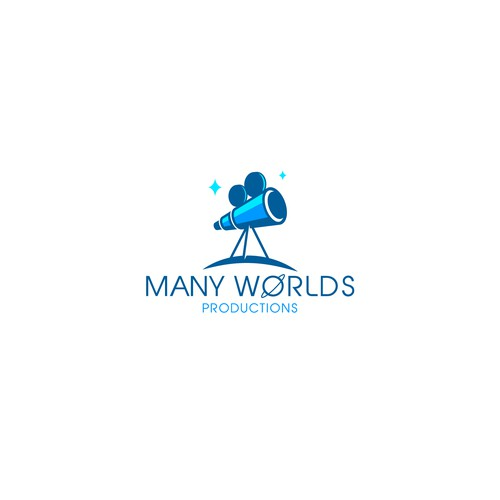 Telescope design with the title 'MANY WORLDS logo'