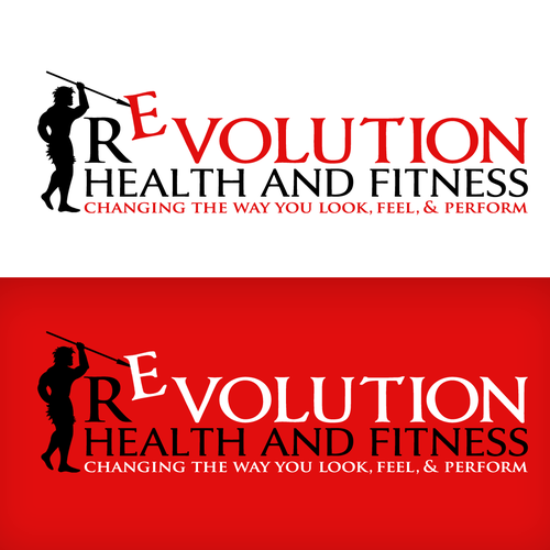 Revolution logo with the title 'CAVEMAN LOGO'
