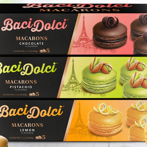Cream packaging with the title 'Baci Dolci macarons packaging line'