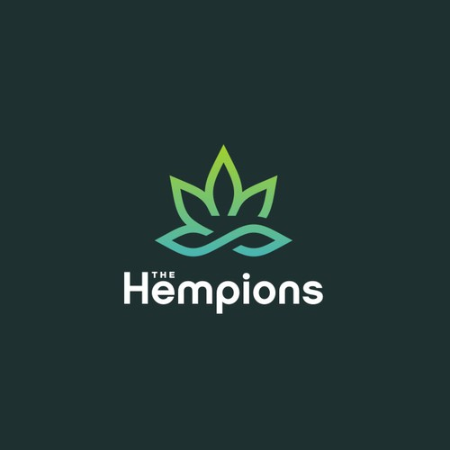 3D infinity logo with the title 'Modern mono-line Logo for The Hempions a company that produce, distribute and sell hemp products or products with synergies with hemp'