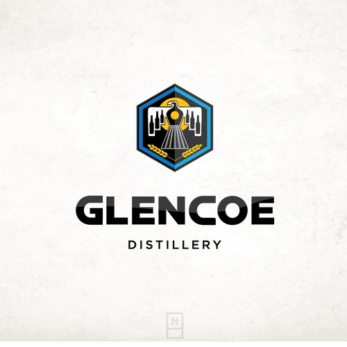 Black and white design with the title 'Glencoe Distillery'