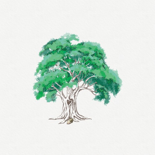 Oak design with the title 'Emotionally evocative illustration of Oak Tree that starts the healing process'