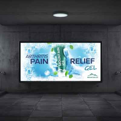 Advertising poster Mountain ice Pain relief gel