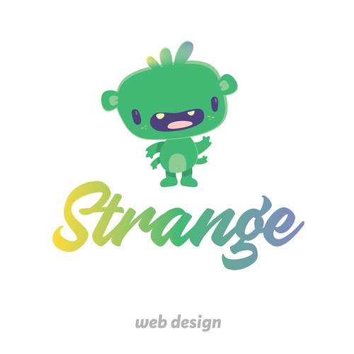 Strange logo with the title 'Cute little alien for a company that wants to take unconventional paths!'