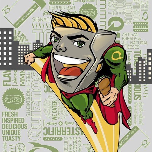 Calendar artwork with the title 'Create a Superhero for Quiznos- Awarding 15 Winning Designs'