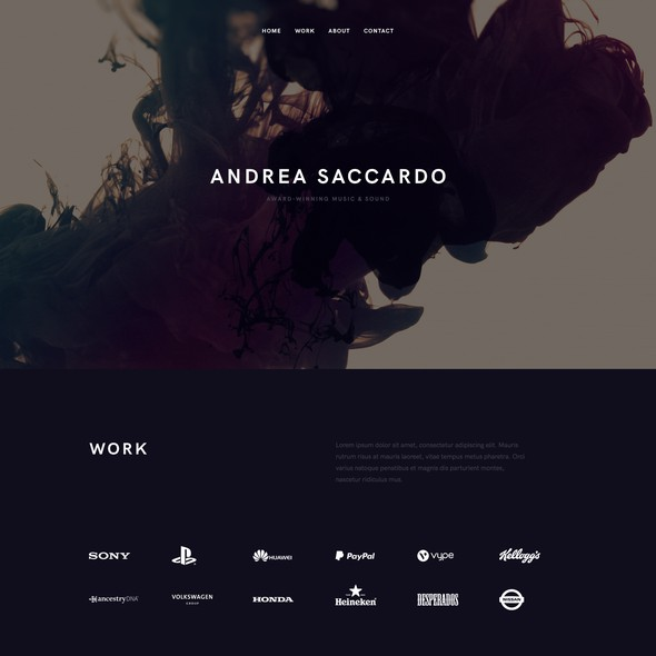 Purple website with the title 'Andrea Saccardo'