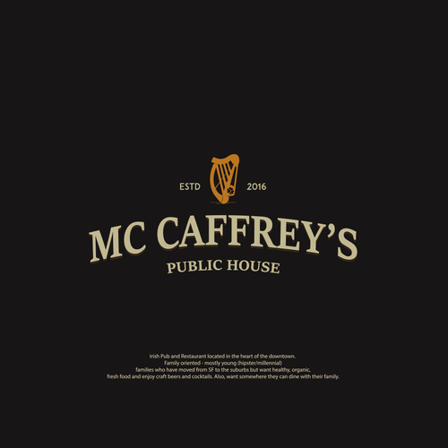 Irish pub logo with the title 'Irish pub- Mc Caffrey's'