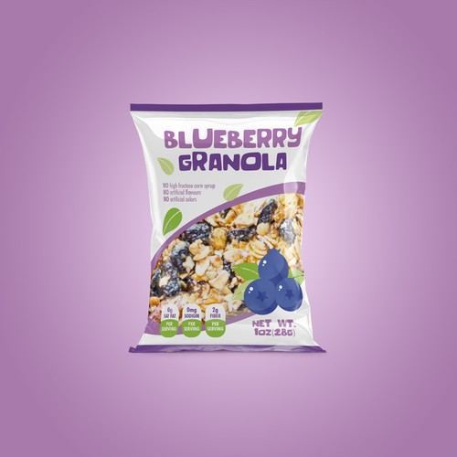 Granola packaging with the title 'Blueberry granola'