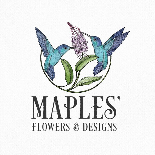 Vintage logo with the title 'Maples' Flowers and designs'