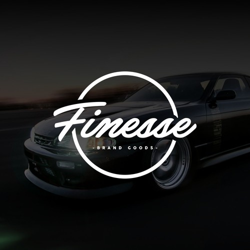 Race car design with the title 'Finesse Brand Goods Logo Design'