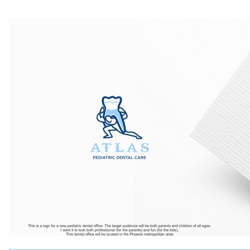 Pediatric logo with the title 'Design a fun logo for Atlas Pediatric Dental Care.'