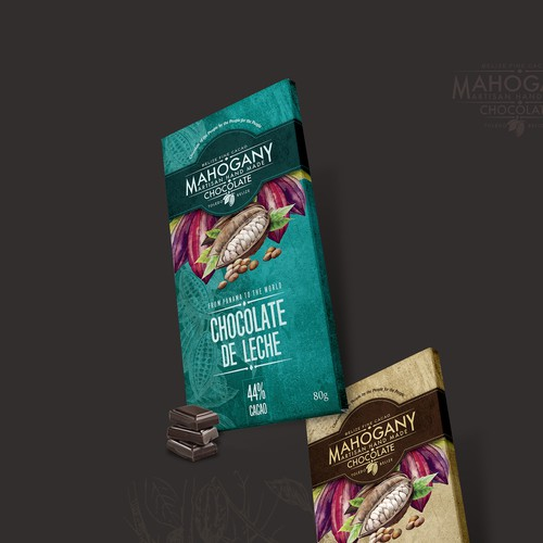 Chocolate bar design with the title 'Chocolate bar wrapping for a bean to bar chocolate shop in Panama'