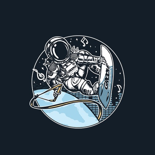 Music t-shirt with the title 'Groove Astronaut'